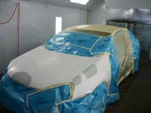 Prius during paint job